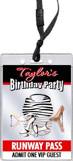 Fashionista Birthday Party VIP Pass Invitation