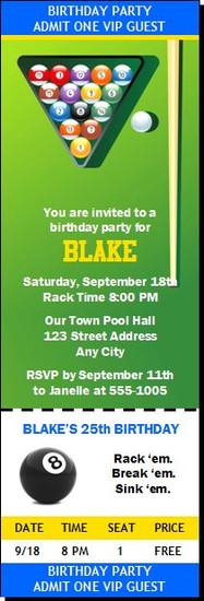 Billiards Table Birthday Party Ticket Invitation