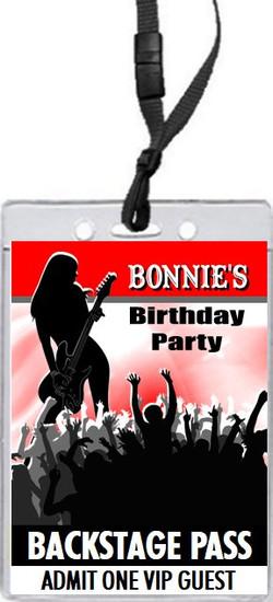 Female Guitarist Birthday Party VIP Pass Invitation