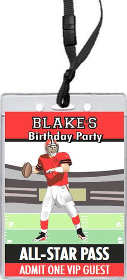 Football All-Star Birthday Party VIP Pass Invitation