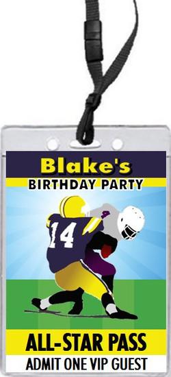 Football Players All-Star Birthday Party VIP Pass Invitation