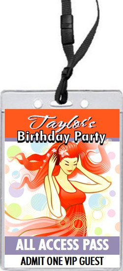 Ginger Girl Birthday Party VIP Pass Invitation