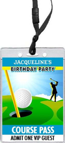 Golf Female Birthday Party VIP Pass Invitation