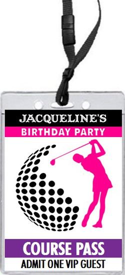 Golf Swing Female Birthday Party VIP Pass Invitation