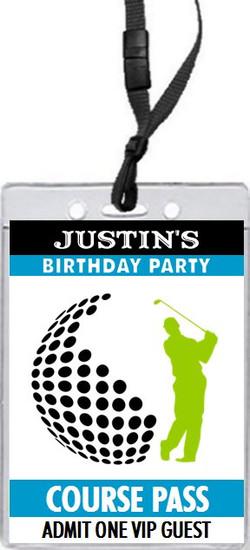 Golf Swing Birthday Party VIP Pass Invitation