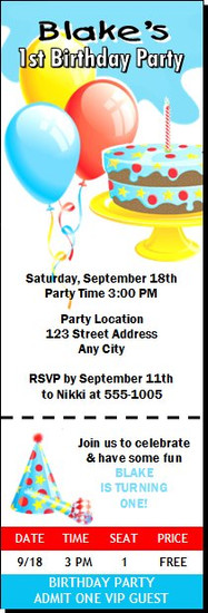 Birthday Boy Party Ticket Invitation