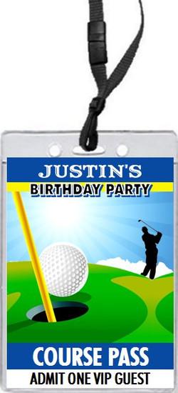 Golf Birthday Party VIP Pass Invitation