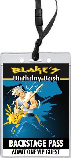 Guitar Jam Backstage Birthday Party VIP Pass Invitation