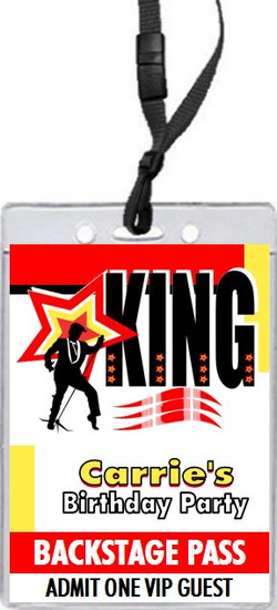 King Rocker Birthday Party VIP Pass Invitation