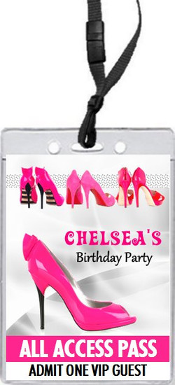 Pink Stiletto Birthday Party VIP Pass Invitation Front