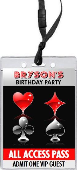 Poker Casino Birthday Party VIP Pass Invitation Front