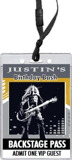 Rock Star Birthday Party VIP Pass Invitation Front