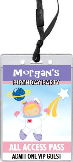 Space Girl Birthday Party VIP Pass Invitation Front