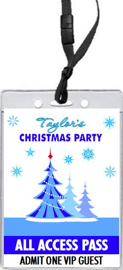 Blue Christmas Party VIP Pass Invitation Front