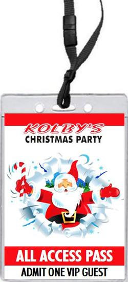 Cartoon Santa Christmas Party VIP Pass Invitation Front