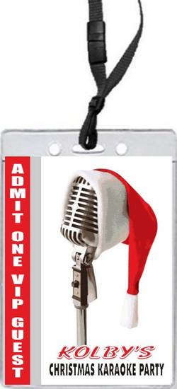 Christmas Karaoke Party VIP Pass Invitation Front