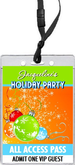 Festive Holiday Party VIP Pass Invitation Front