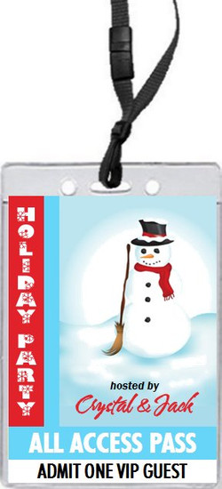Frosty Holiday Party VIP Pass Invitation Front