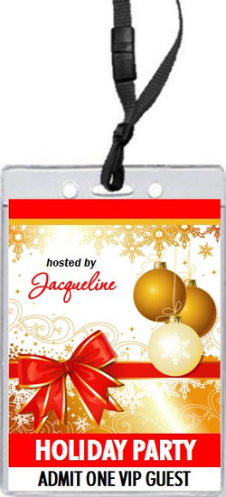 Gift Wrapped Holiday Party VIP Pass Invitation Front