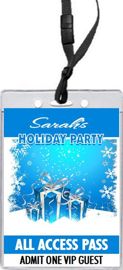 Gifts on Blue with Snowflakes Holiday Party VIP Pass Invitation Front