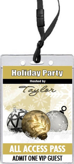 Golden Holiday Party VIP Pass Invitation Front