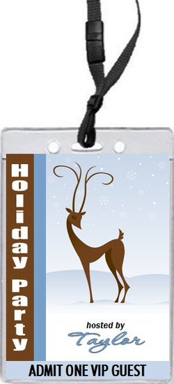 Holiday Reindeer Holiday Party VIP Pass Invitation Front