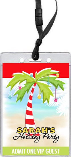 Palm Tree Holiday Party VIP Pass Invitation Front