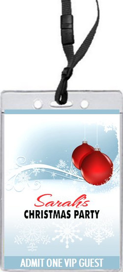 Red Ornament Christmas Party VIP Pass Invitation Front