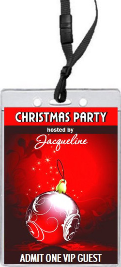 Regal Red Christmas Party VIP Pass Invitation Front