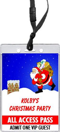 Rooftop Santa Christmas Party VIP Pass Invitation Front