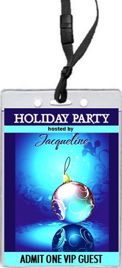 Royal Blue Holiday Party VIP Pass Invitation Front