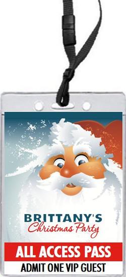 Santa Christmas Party VIP Pass Invitation Front