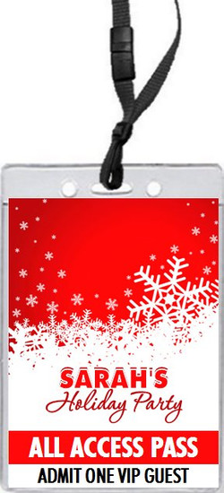 Snowflakes Holiday Party VIP Pass Invitation Front
