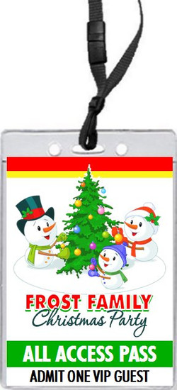 Snowman Family Christmas Party VIP Pass Invitation Front