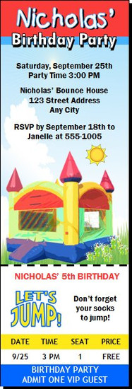 Bounce House Birthday Party Ticket Invitation