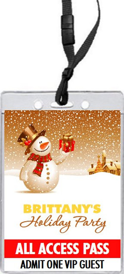 Snowy Night Holiday Party VIP Pass Invitation Front
