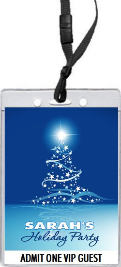 Star Tree on Blue Holiday Party VIP Pass Invitation Front