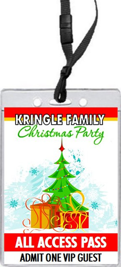 Tree Trimming Christmas Party VIP Pass Invitation Front