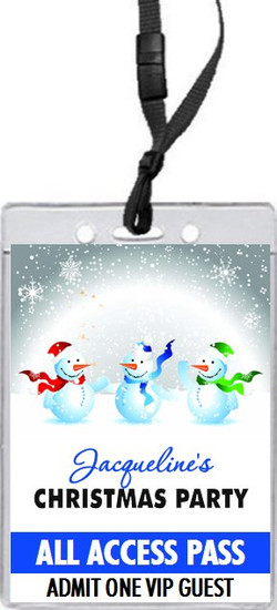 White Christmas Party VIP Pass Invitation Front