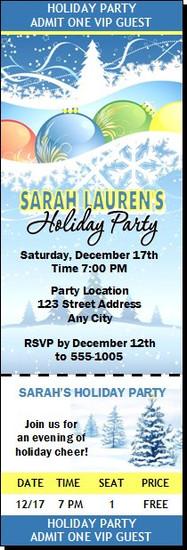 Holiday Scene Party Ticket Invitation