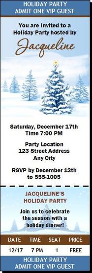 Long Winter's Nap Holiday Party Ticket Invitation