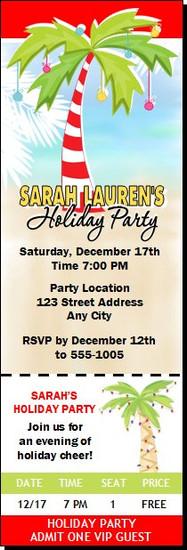 Palm Tree Holiday Party Ticket Invitation