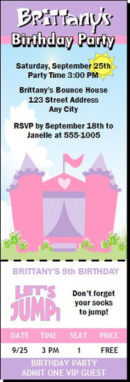 Bounce House Castle Birthday Party Ticket Invitation