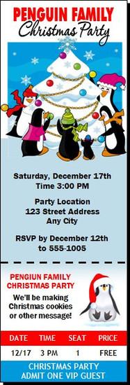 Penguin Family Christmas Party Ticket Invitation