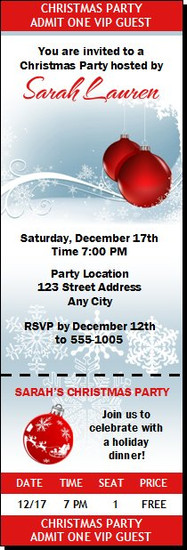 Red Ornament Christmas Party Ticket Invitation