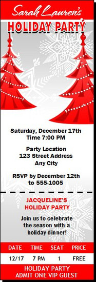 Red Tree Holiday Party Ticket Invitation