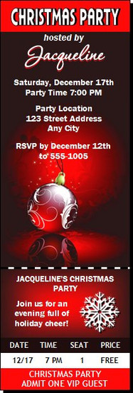Regal Red Christmas Party Ticket Invitation