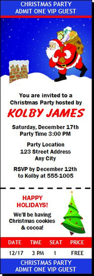 Rooftop Santa Christmas Party Ticket Invitation