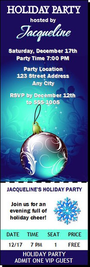 Royal Blue Holiday Party Ticket Invitation
