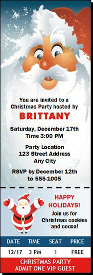 Santa Christmas Party Ticket Invitation
